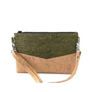 Small cork cross body bag, natural and army green