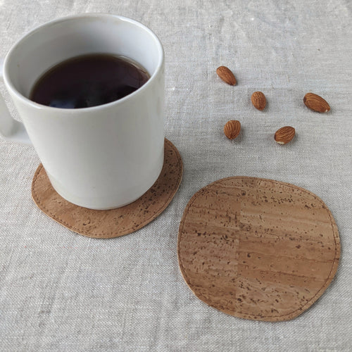 Cork leather coasters, pebble