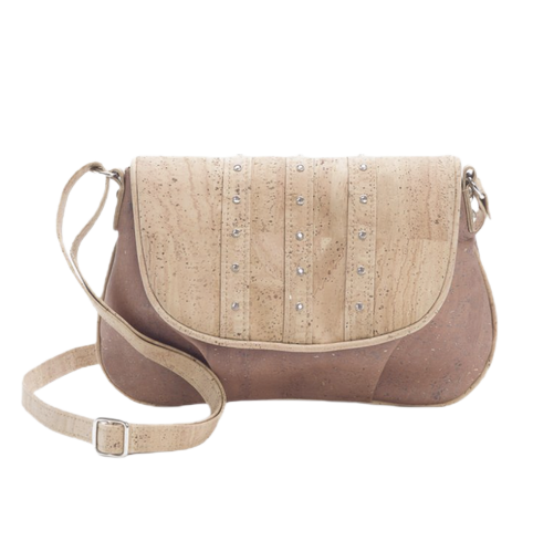 Small studded cork  bag, warm natural