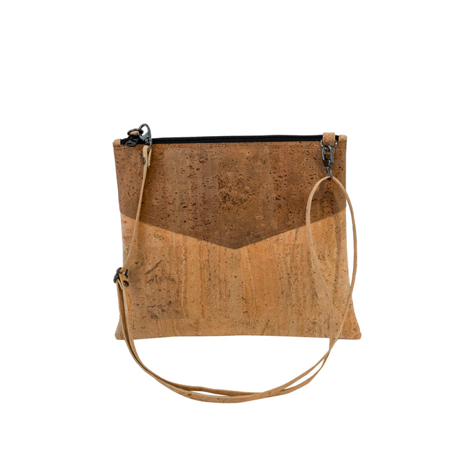 Large cork pouch bag / cross body bag, natural and brown