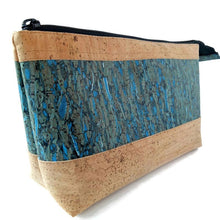 Load image into Gallery viewer, Cork cosmetic bag, natural + blue fennel