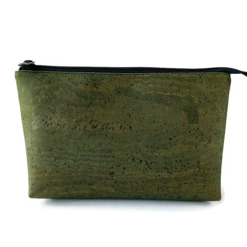 Cork cosmetic bag, army green