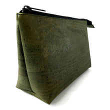 Load image into Gallery viewer, Cork cosmetic bag, army green