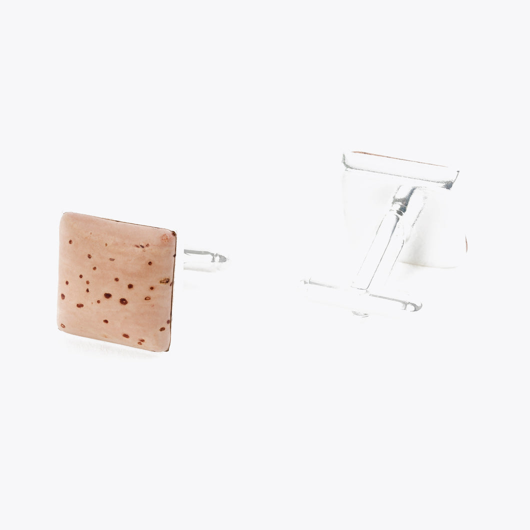 Square cork cufflinks, natural
