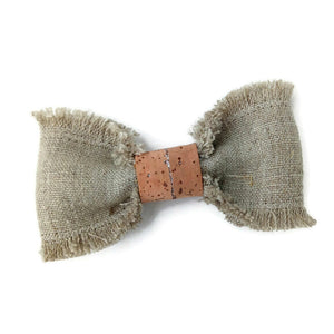 Linen and cork hair bow
