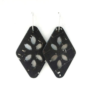 Cut Out cork earrings black