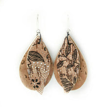Load image into Gallery viewer, Gum leaves cork earrings, natural and black floral