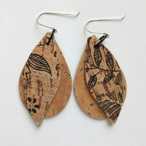 Gum leaves cork earrings, natural and black floral