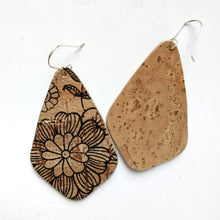 Load image into Gallery viewer, Wings cork earrings, black floral