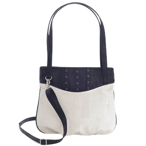 Studded cork handbag, classic black and white