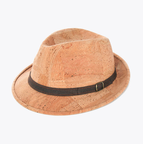 Cork hat with suede strap, natural