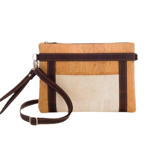 Tricolour cross body bag, natural