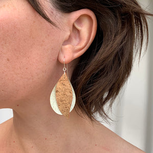 Gum leaves cork earrings, denim blue and natural with rainbow flecks