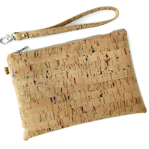 natural cork wristlet on white background with wrist loop detached