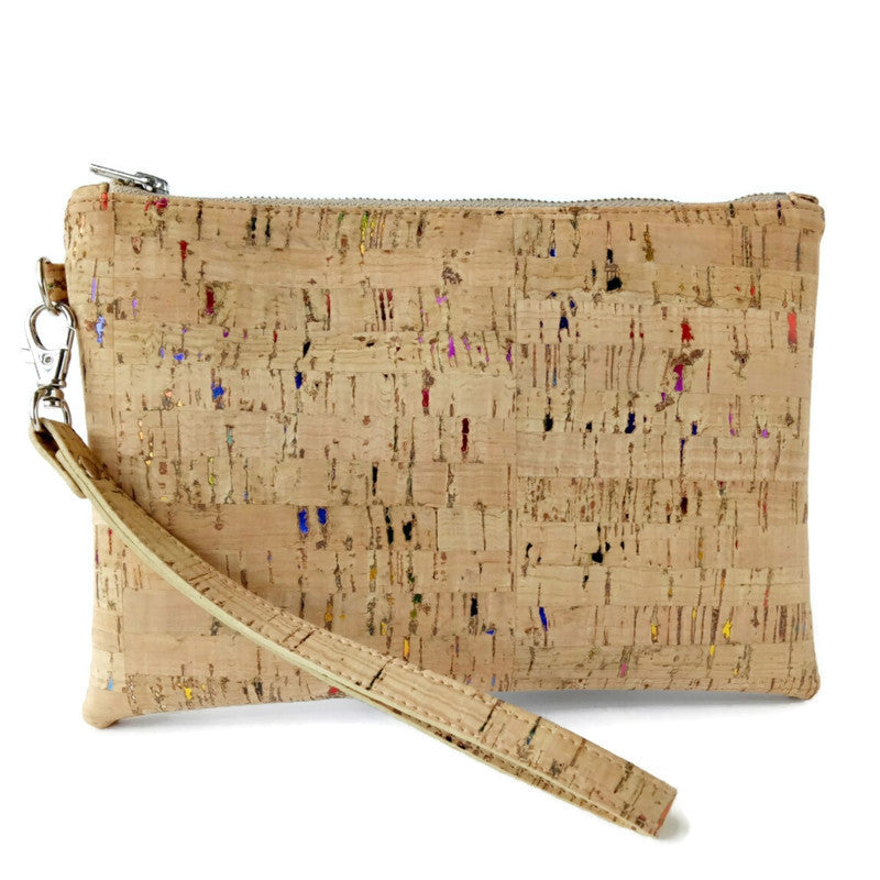 natural cork wristlet standing on white background