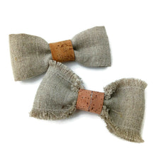 Load image into Gallery viewer, Linen and cork hair bow