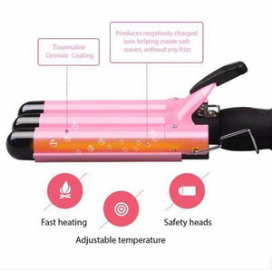 Adjustable Triple-Barrel Curling Iron