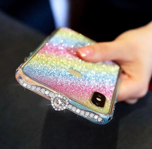 Luxury Crystal bling Anti-fall border case for iPhone