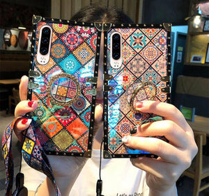 Bohemian Retro Crystal Bracket Phone Case for iPhone & Samsung