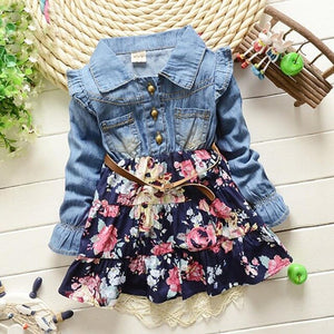 Girls' Casual Floral Denim Dress-TotstoKids