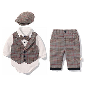 Stylish Cotton Plaid 5PCs Party Suit