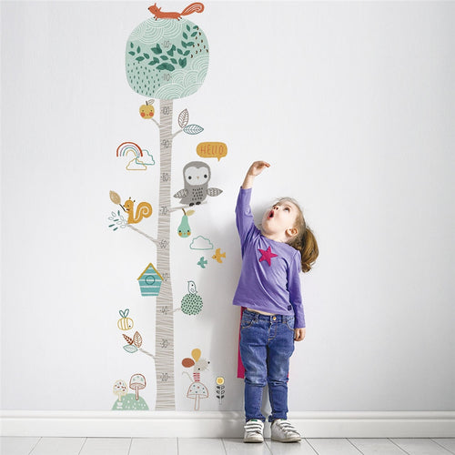 Height Ruler Forest Animal Tree Wallpaper-TotstoKids