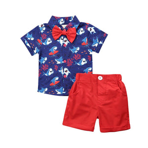 Shark Print Shirt + Shorts Set-TotstoKids