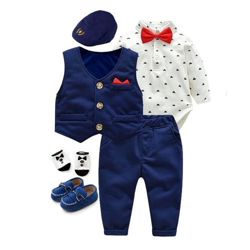 6 Piece Boys Cotton Rompers Vest Trousers