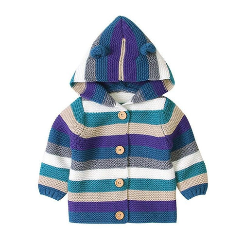 Baby Girls' Striped Hooded Knitted Cardigan