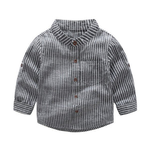 Boys' Smart Casual Stand-up Striped Shirt