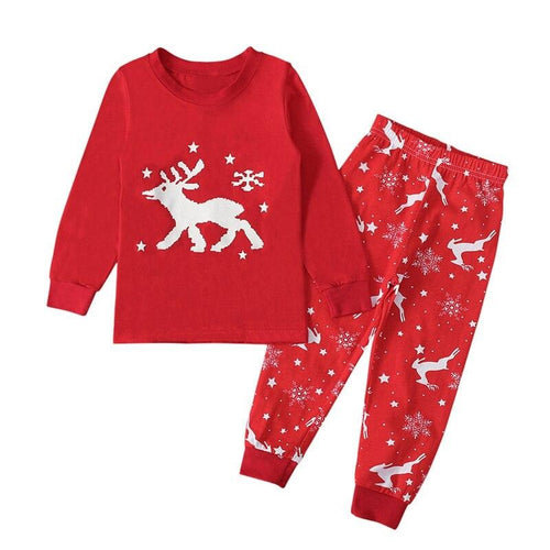 LZH Christmas Elk Pattern 2PCs Pyjamas Set