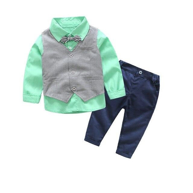 Boys Bow Tie Shirt+Vest+Pants-TotstoKids