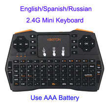 Load image into Gallery viewer, 2.4G Wireless Mini Handheld Keyboard English/Spanish/Russian Mini Gaming Keyboard with Touchpad Mouse for Android TV Box