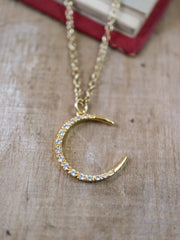Golden art nouveau moon necklace