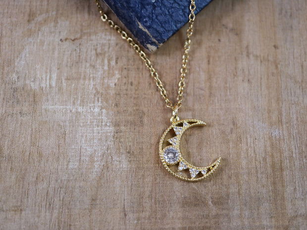 All the sparkle moon necklace