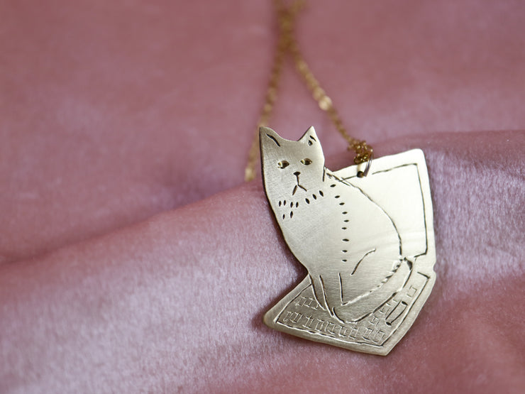 Sitting computer cat hand sawed & engraved brass necklace