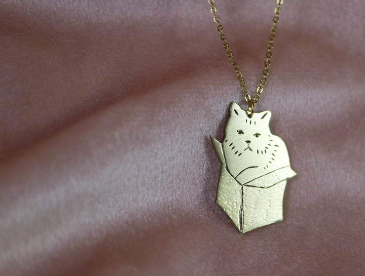 If it fits i sits cat hand sawed & engraved brass necklace