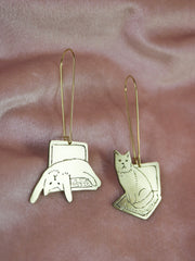Computer cat hand sawed & engraved brass pair of earrings