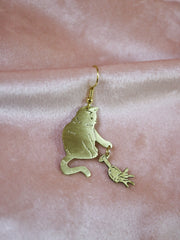 Slowly moves paw toward your glass cat hand sawed & engraved brass single or pair of earrings