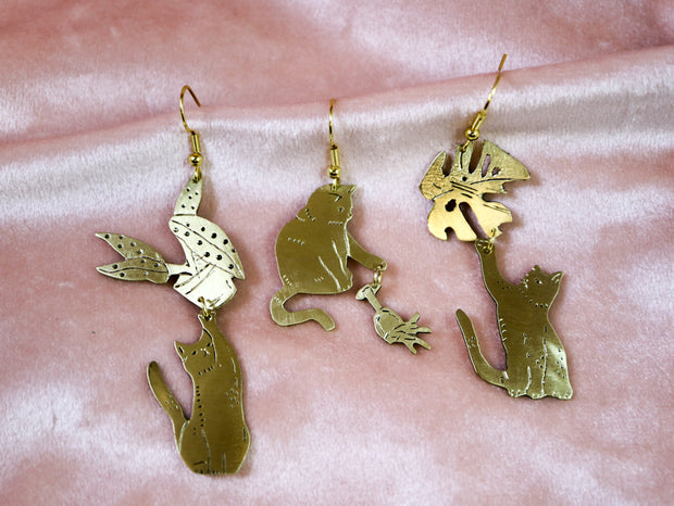 Bye bye monstera variegata cat hand sawed & engraved brass single or pair of earrings