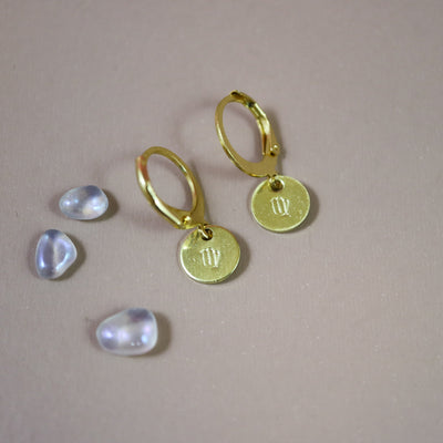 Virgo zodiac mini hoops