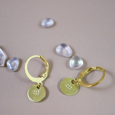 Aquarius zodiac mini hoops