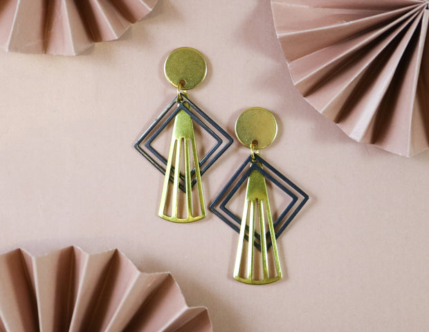 Inverted art deco ornament earrings (Limited edition)