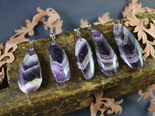 Giant amethyst pendulum necklace