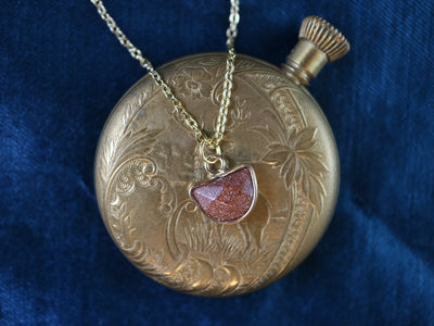Half moon sandstone pendant necklace