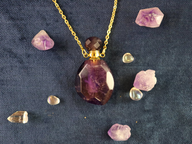 Magical faceted amethyst vial necklace
