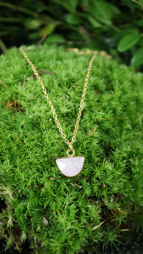Half moon rose quartz pendant necklace