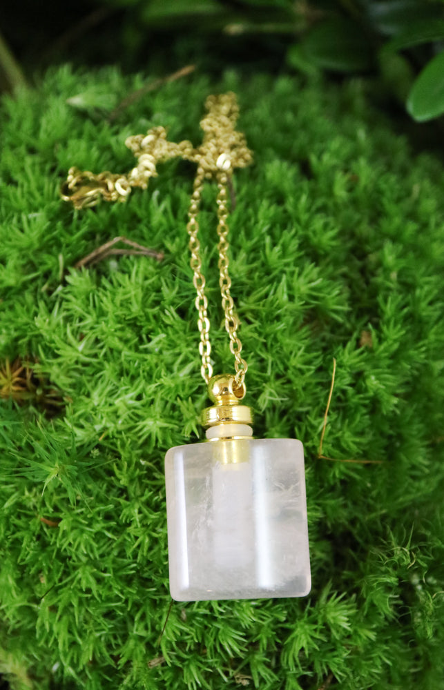 Magical rose quartz vial necklace