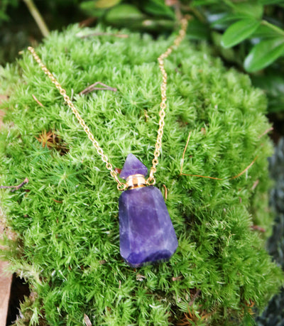 Magical amethyst coffin vial necklace