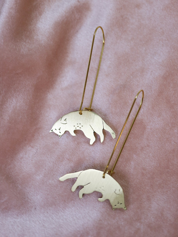 Upside down cats sawed & engraved brass earrings